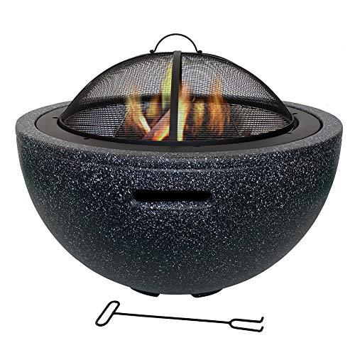 BMXzz Feuerstelle Rund, Outdoor Kocher Ofen Multifunktional Fire Pit für Heizung/BBQ Garten Terrasse Feuerschale 75.5 * 55cm,Schwarz