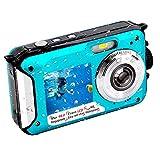 Appareil Photo Etanche Full HD 2.7K 10FT Caméra étanche 48 MP Appareil Photo étanche Retardateur 2.7 & 1.8 Pouces Appareil Photo Etanche Double Ecran pour Les Vacances