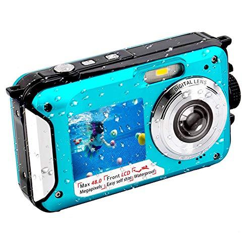Unterwasserkamera Full HD 2.7K 10FT Kamera Wasserdicht 48 MP Unterwasser Kamera Selbstauslöser 2.7 & 1.8 Zoll Dual Screen wasserdichte Kamera für den Urlaub