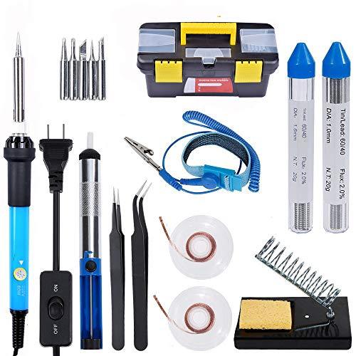 CARACHOME Soldador Profesional Kit de Soldador de Temperatura Ajustable de 60 W con Cable antiestático y 5 Puntas de Soldador para soldar Tecnología de Soldadura eléctrica precisa