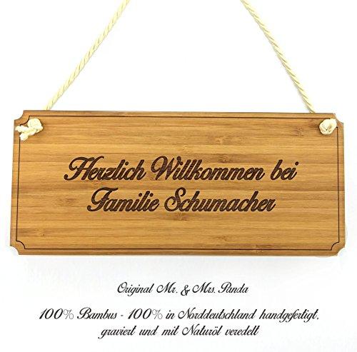 Mr. & Mrs. Panda Türschild Nachname Schumacher Classic Schild - 100% handgefertigt aus Bambus Holz - Anhänger, Geschenk, Nachname, Name, Initialien, Graviert, Gravur, Schlüsselbund, handmade, exklusiv