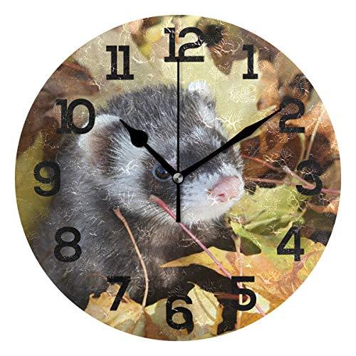 AMONKA - Reloj de Pared Redondo con diseño de Hojas de otoño,...