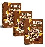 Turtle Cereals Gachas de avena de chocolate orgánicas sin gluten con plátano - 3 x 400 gramos