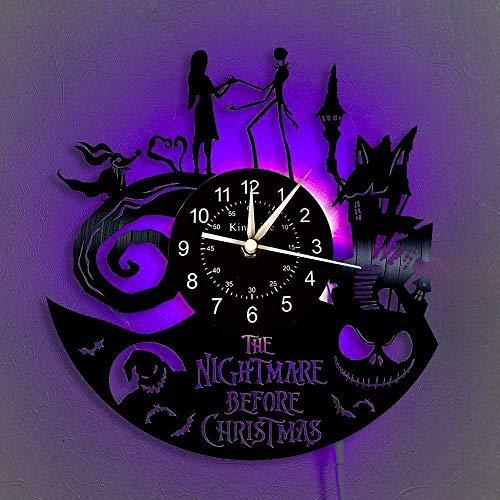 The Nightmare Before Christmas Vinyl Record Wall Clock LED Light 12' Vinyl CD Quartz Clock Creative Hanging Lamp 7 Color Luminous Wall Clock [with LED] Handmade Interior Home Decor