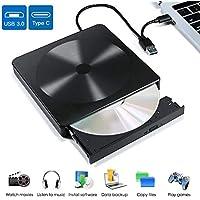 VOLADOR Grabadora CD/DVD Externa, Lector CD/DVD con USB 3.0 y Tipo C Unidades de DVD Externa Portátil CD/DVD /-RW/ROM, Compatible con WIN98/7/8/10/XP, Vista, Mac os 8.6 o Superior