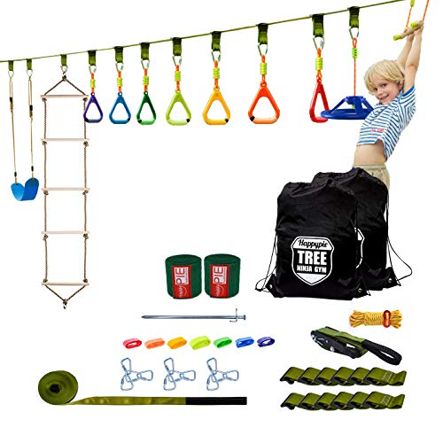 HAPPYPIE Ninja Warrior Obstacle Course Training Equipment for Kids, 46 FT Slackline with 11 Obstacles, Gymnastics Set Including Monkey Bar Zipline Swing Climbing Ladder for Backyard Boys Girls Age 6+