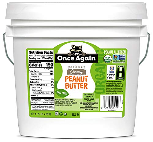 Once Again Organic Creamy Peanut Butter, 9lbs - Salt Free, Unsweetened - USDA Organic, Gluten Free...