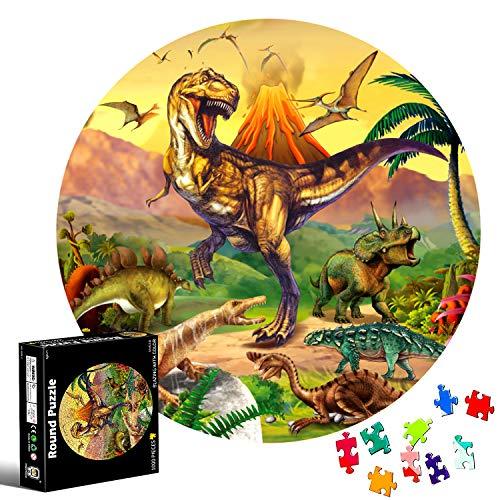 Puzzle Redondo 1000 piezas,Rompecabezas Redondo,Puzzle Adultos,Para Educativo El Alivio del Estrés Circular Desafío Intelectual Juegos Niños Adultos (Dinosaurio)