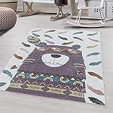 Ayyildiz - Alfombra para niños, diseño de oso indio, 200 x 290 cm, color morado