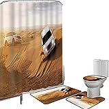 Juego de cortinas baño Accesorios baño alfombras Decoración deportiva Alfombrilla baño Alfombra contorno Cubierta del inodoro Carrera en el desierto africano Safari Aventura Foto de actividad de pasat