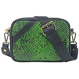 Parubi, Bolso de mujer de piel auténtica, fabricado en Italia, modelo Ginebra, pequeño bolso de mano de piel sintética, para mujer y niña, elegante, verde botella (Verde) - PRB4016
