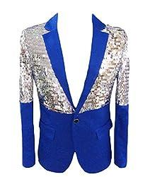 Blue, Sequin Glitter One Button Blazer Jacket