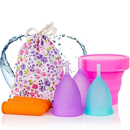 Melyth Tasses menstruelles - (2x Grand et 1x petit) - Tasse pliable - Trouvez votre ajustement parfait - Meilleure alternative aux serviettes hygiéniques