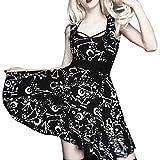 Gothic Kleid Damen Mittelalter Kostüm Vintage Steampunk Kleid Cocktailkleid Lolita Kleid Schulterfrei Kurzarm Gotische Kleidung Party Kleid Moon Weihnachten Halloween Erwachsene Cosplay (M, Schwarz-1)