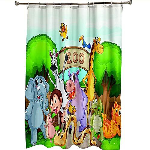 Duschvorhang für Badezimmer Wasserdicht schrittweise Cartoon-Zoo Duschvorhang Haken mit Ringen 1 Panel enthalten 65