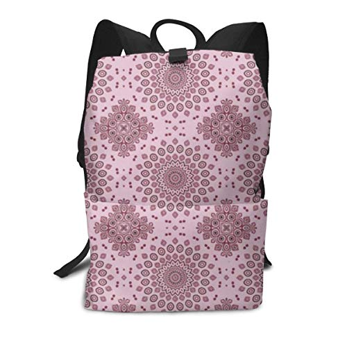 Unisex Backpack, Mandala in Pink Burgundy and Mauve College Students Bookbags Travel Computer Notebooks Daypack School Outdoor Shoulder Bag Daypack