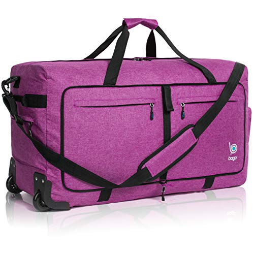 Wheeled Duffle Bag Luggage - 100L Large Rolling Duffel Bag 30 inch Folding Duffle Bag for Travel - Packable Duffle Bag with Rollers (Snow Purple)