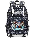 ZZGOO-LL One Piece Monkey·D·Luffy/Franky Anime Laptop Backpack Bag Travel Laptop Daypacks Bolso Ligero con USB-F