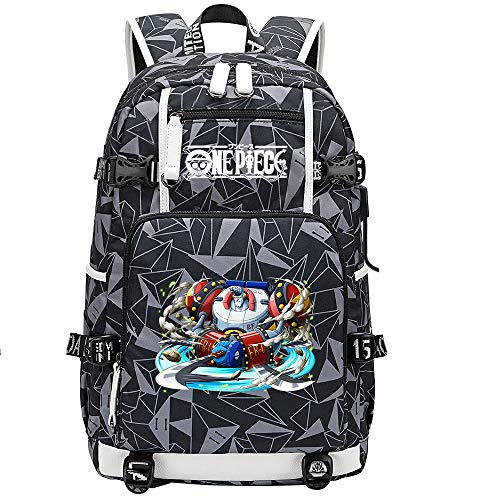 ZZGOO-LL One Piece Monkey·D·Luffy/Franky Anime Laptop Backpack Bag Travel Laptop Daypacks Bolso Ligero con USB-F