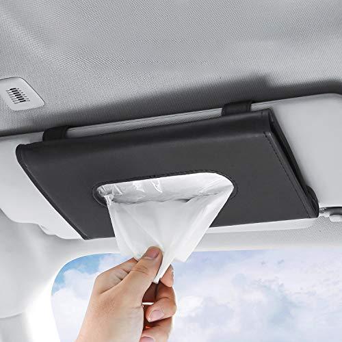 Car Visor Tissue Holder ,Hanging Paper Towel Clip,Sun Visor Napkin Holder PU Leather Tissue Box,Storage Cases for Universal Auto(Black)