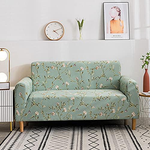 Fundas de sofá Estampadas Elástica,Flor de Hoja Verde 3 Plazas Antideslizante Ajustables Funda de Sofá,Universal Poliéster Protector Cubierta de Muebles,+2 Funda de Cojín