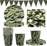 FANDE Stoviglie mimetiche Militari, 41 Pezzi Set di stoviglie a Tema Mimetico Militare USA e Getta, Piatti di Carta per Feste, Bicchieri, Tovaglioli, Striscioni - per 10 Persone
