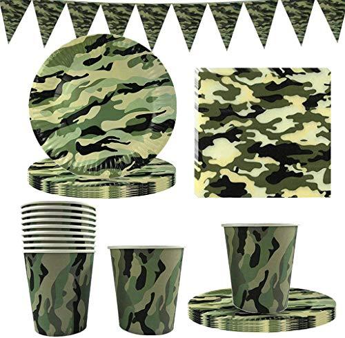 FANDE 41 Piezas Camo Party Vajilla Set desechable Camo vajilla Set Decoración del cumpleaños del ejército de la bandera de la placa de papel de la taza de papel de la servilleta