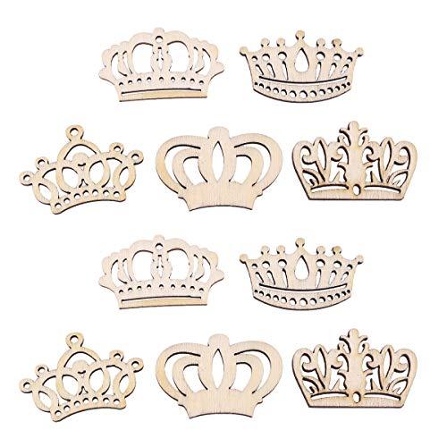 Amosfun 50 Stück Holzscheiben Holz Konfetti Krone Form Baumscheiben für Kinder Basteln DIY Handwerk Scrapbooking Verzierung Hochzeit Streudeko Babyparty Tischdeko