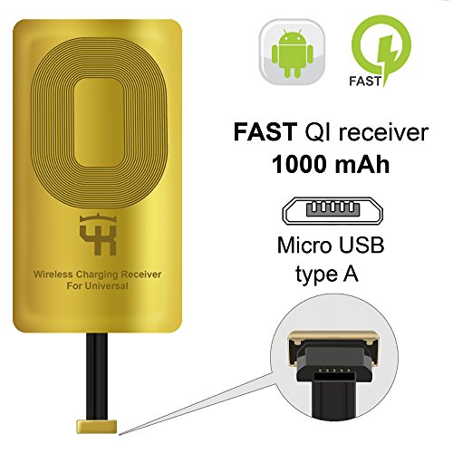 QI Empfänger Type A für Samsung Galaxy J7 - J8 - J3 - J6 - LG V10 -LG Stylo 2-3 - Wireless Charging Empfänger - QI Receiver Adapter Samsung - Wireless Charging Receiver- Wireless Ladegerät Empfänger