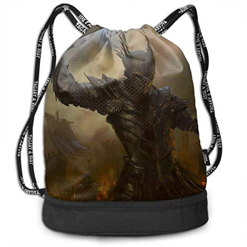 Anime Warrior Drstring Bags Multifunction Bundle Bapa Large Capacity Lightweight Simple Portable Funny Handbag,for Women Kids School Gym Travel (Polyester)