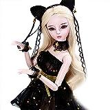 GODNECE BJD Doll 1/3, 23 articulaciones, vestido de princesa, juego de muñecas, figura de acción de juguete, muñeca articulada y pelota, juego de muñeca de princesa de gato