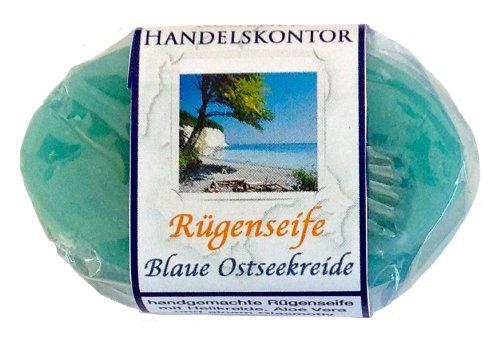 Rügenseife. Blaue Ostseekreide, mit Rügener Heilkreide und einem Glasmotiv