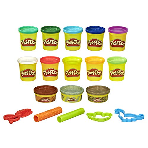 Play-Doh Bulk Dinosaur Colors 13-Pack of Non-Toxic Modeling Compound with 2 Cutter Shapes, 2 Roller Tools, and Scissors (Amazon Exclusive)