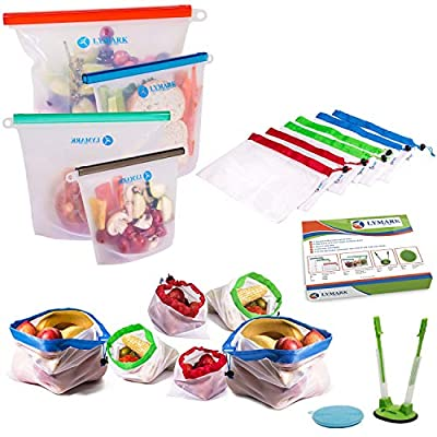 Reusable Food Storage Bags Reusable Ziplock Bags Sandwich Bags Silicone Bags, Baggy Holder, Mesh Produce Bag Silicone Scrubber -Eco-Friendly Sous Vide Silicone Containers Freezer Gallon baggy holder