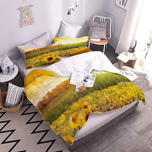 MQBHJI Super King Size Duvet Cover Sets - 3D Printed Sunshine Sunflower Flower Pattern 3 Pcs With Zipper Closure + 2 Pillowcases - Ultra Soft Hypoallergenic Microfiber Quilt Cover Sets 260X220cm