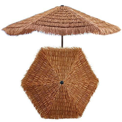 HXCD Ombrello di Paglia Tropicale Hawaiano da 7,8 Piedi / 2,4 m, ombrellone in Rafia di Hula, Paralume per Esterni da Giardino, con manovella, Colore Naturale