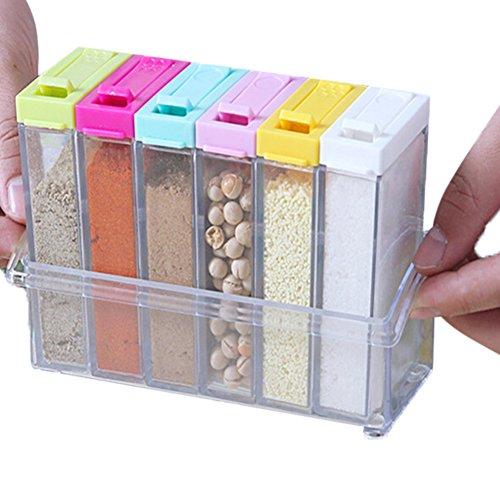 Candora® - Juego de 6 botes de especias transparentes para condimentos de cocina con tapa colorida