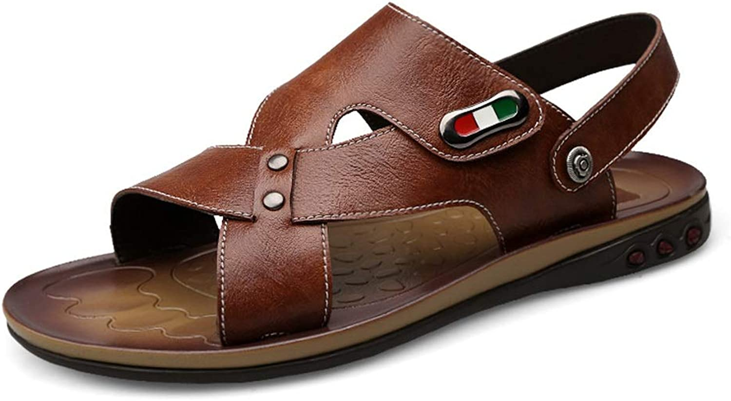 shoes Fashion Casual Beach Casual shoes Summer Sandals Flip-Flops Toe Ring Breathable Slippers Elastic Leather Upper shoes (color   Brown, Size   9 D(M) US)