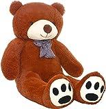 TEDBI Oso de Peluche Gigante 140cm | Marrn | Gran Oso de Peluche Animal de Peluche de Juguete Regalo de cumpleaos del corazn XXL Teddi Oso con Bordado