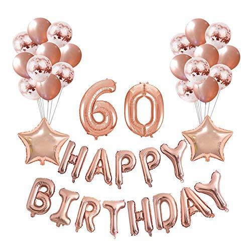 Crazy-M Geburtstag Deko Set Nummer 60 Luftballon Rosegold für Frauen,Geburtstag Party Deko -2 Zahl 60 Aufblasbar Helium Folienballon+13 Happy Birthday Folienballon+ 10 Konfetti Ballon+ 2 Stern Ballon
