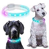 'N/A' PETLED Premium LED-HUNDEHALSBAND, USB-Akku aufladbar, EXTRA HELL, 4 Farben einstellbar (Rot, Blau, Grün, Pink) 2 Regenbogen Blinkmodi, für alle Hunde geeignet, Größe anpassbar