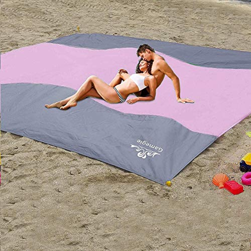 Gamegie Sand Proof Beach Blanket, Large Sand Free Beach Mat Oversized Waterproof Sandless Mat for...