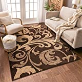 Melanie Floral Brown & Beige Modern Geometric Comfy Casual Fleur-de-Lis Hand Carved Area Rug 8x10 8x11 ( 7'10' x 9'10' ) Easy to Clean Stain Resistant Contemporary Thick Soft Plush Living Dining Room
