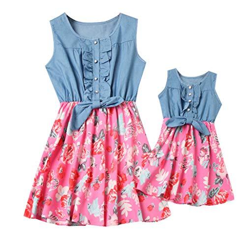 Mutter Und Tochter Kleid Allence Set, Baby Kleidung Partnerlook Mutter Tochter Familien Kleidung Mama und Kinder Mädchen Kleid Sommerkleid Tops Damen Shirtkleider