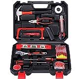 Kit de herramientas de mano de 19 piezas de acero al carbono con caja de plástico para reparación