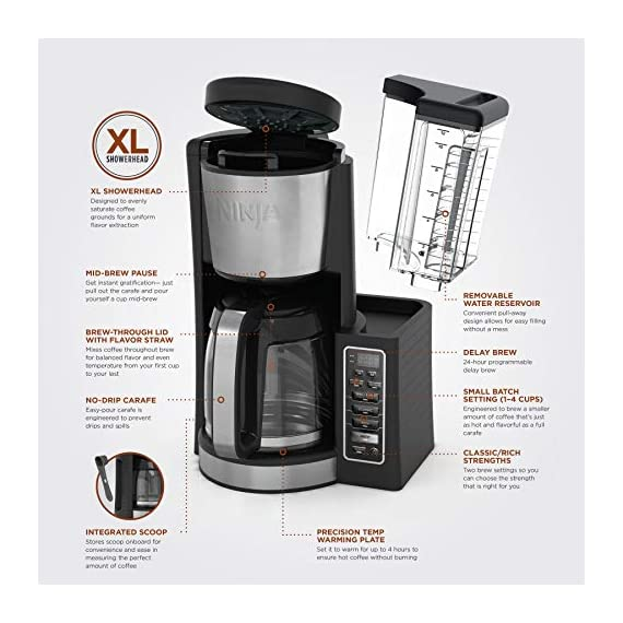 Ninja 12-Cup Programmable Coffee Maker with Classic and Rich Brews, 60 oz. Water Reservoir, and Thermal Flavor… 8 Hotter brewing technology: Advanced boiler for a perfectly hot cup of coffee Wake upto hot coffee 24 hour programmable delay brew allows you to prepare your brew upto a day in advance Keep coffee fresh and flavorful upto 4 hours with the adjustable warming plate