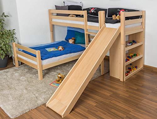 Kinderbett Etagenbett Moritz L Buche Vollholz massiv natur mit Regal und Rutsche, inkl. Rollrost - 90 x 200 cm, teilbar