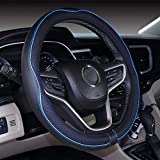 Mayco Bell Microfiber Leather Small Steering Wheel Cover (14' - 14.25',Black Blue)