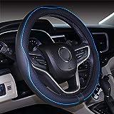 Mayco Bell Microfiber Leather Car Medium Steering wheel Cover (14.5''-15'',Black Blue)