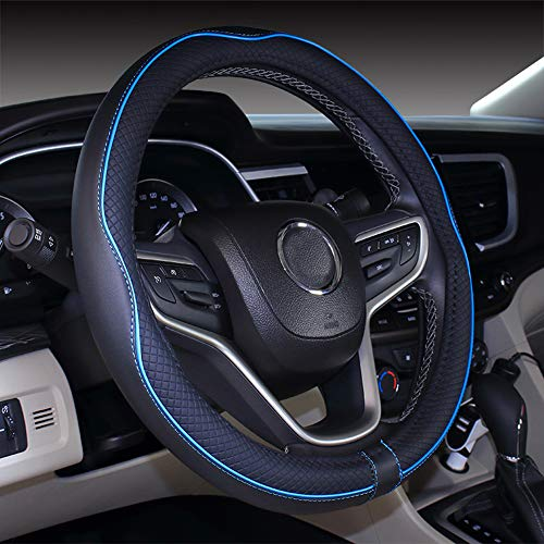 Micro Fiber Leather Car Steering wheel Cover 15 inches (Black Blue)